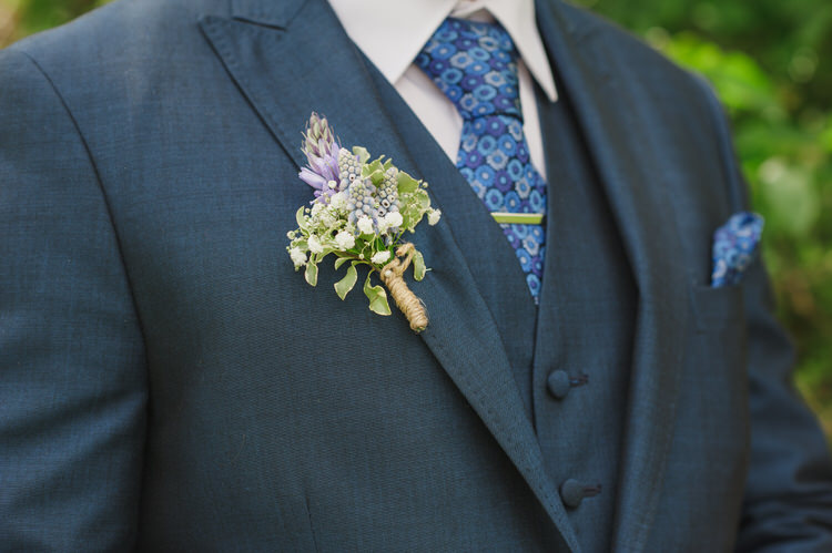 White Twine Buttonhole Groom Pretty Blue Country Barn Spring Wedding http://karenflowerphotography.com/