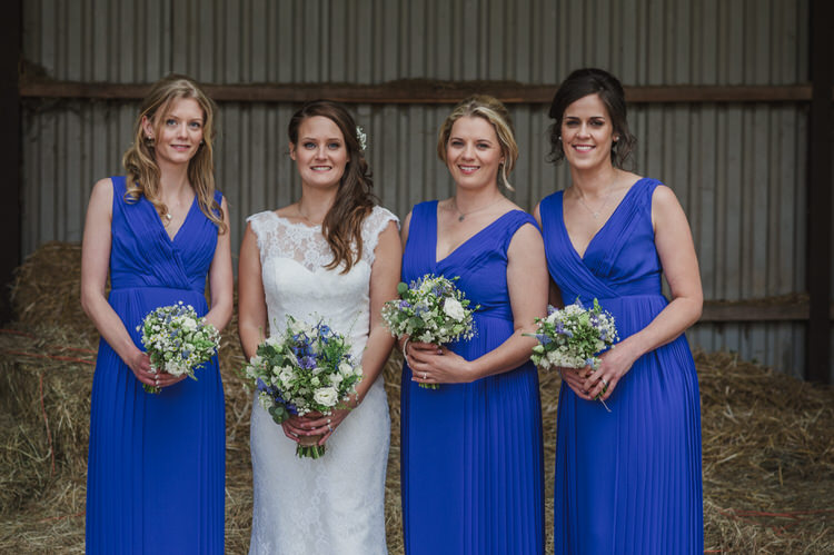 Long Blue Bridesmaid Dresses Pretty Blue Country Barn Spring Wedding http://karenflowerphotography.com/
