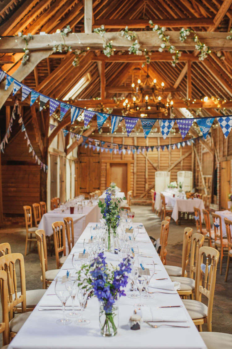 Bunting Flowers Long Tables Heron's Pretty Blue Country Barn Spring Wedding http://karenflowerphotography.com/