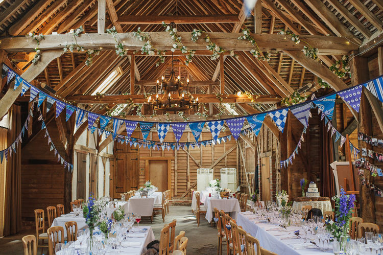 Bunting Pretty Blue Country Barn Spring Wedding http://karenflowerphotography.com/