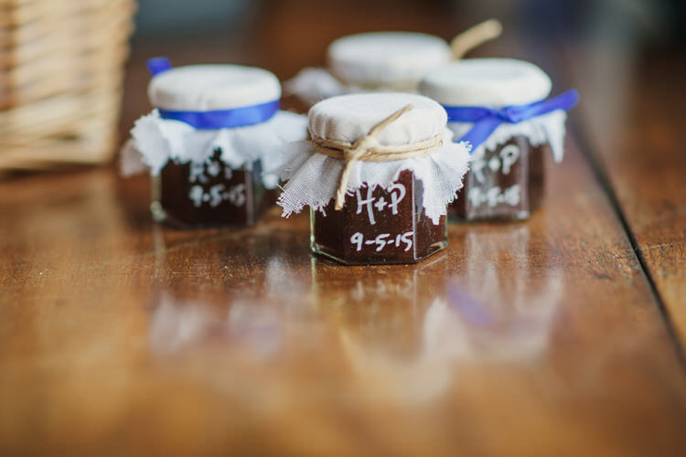 Jam Favours Pretty Blue Country Barn Spring Wedding http://karenflowerphotography.com/