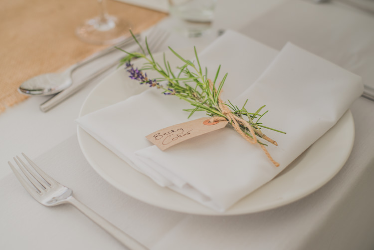 Rosemary Lavender Place Setting Name Tag Luggage Victorian Railway Station Wedding http://annamorganphotography.co.uk/