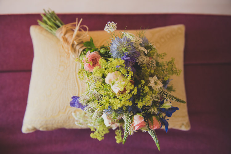 Bouquet Blue Pink Green Flowers Victorian Railway Station Wedding http://annamorganphotography.co.uk/