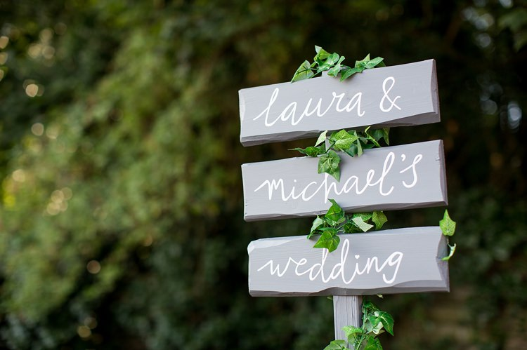 Grey White Painted Sign Post Pastel Country Garden Wedding http://www.katherineashdown.co.uk/