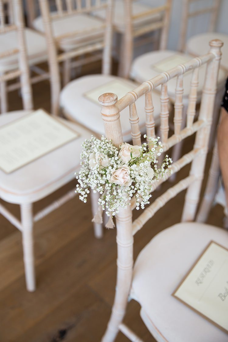 Chair Flowers Pew End Aisle Ceremony Gypsophila Rose Pastel Country Garden Wedding http://www.katherineashdown.co.uk/