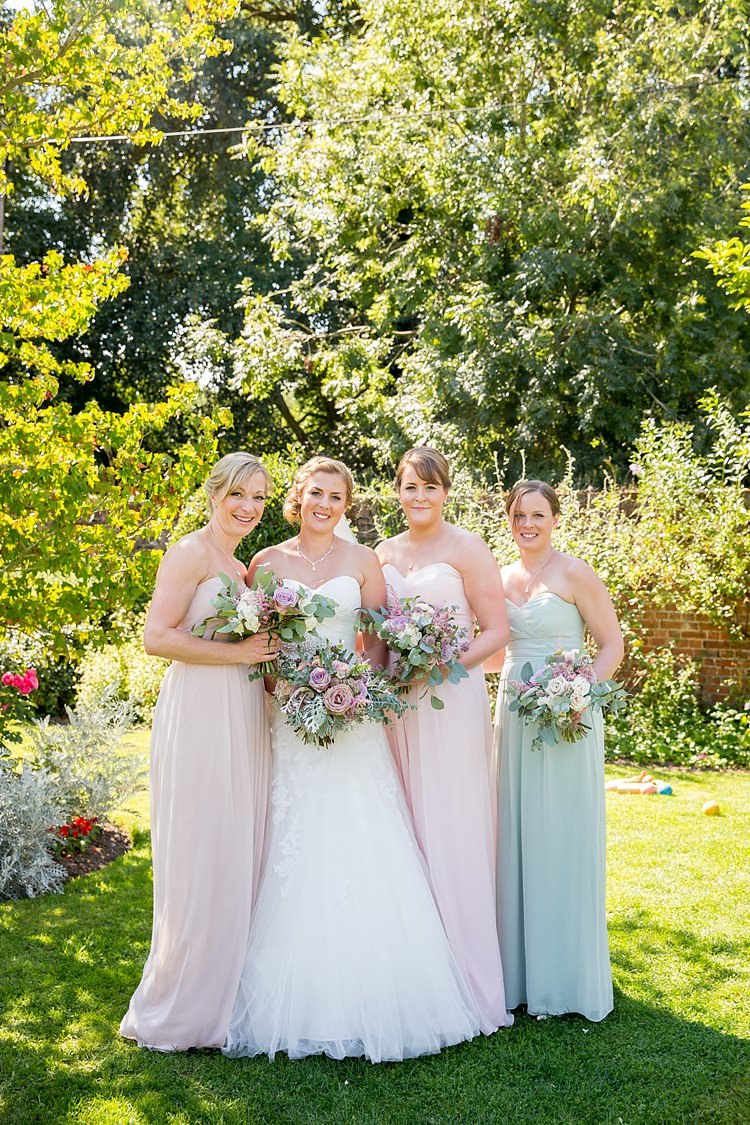 Long Pink Green Dessy Bridesmaid Dresses Pastel Country Garden Wedding http://www.katherineashdown.co.uk/