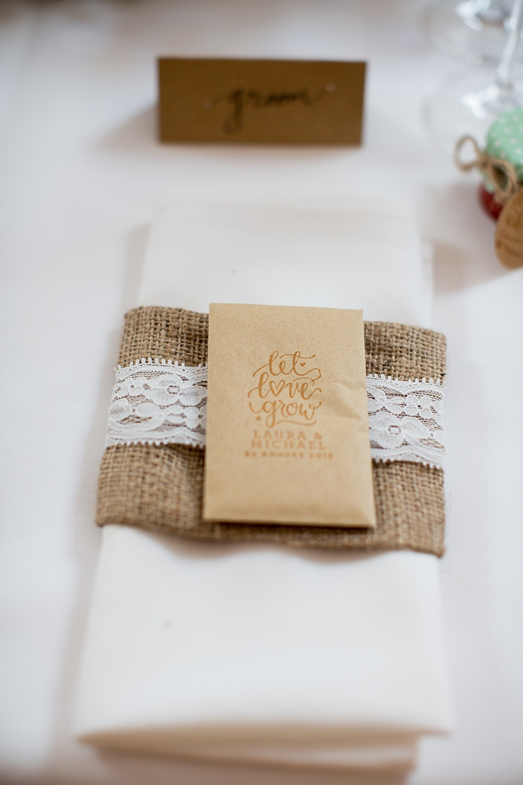 Seed Favours Hessian Lace Place Setting Pastel Country Garden Wedding http://www.katherineashdown.co.uk/