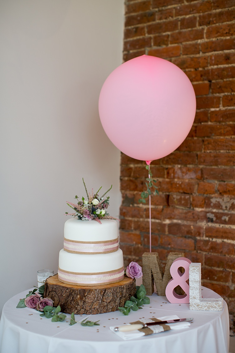 Cake Log Flowers Ribbon Balloon Pastel Country Garden Wedding http://www.katherineashdown.co.uk/