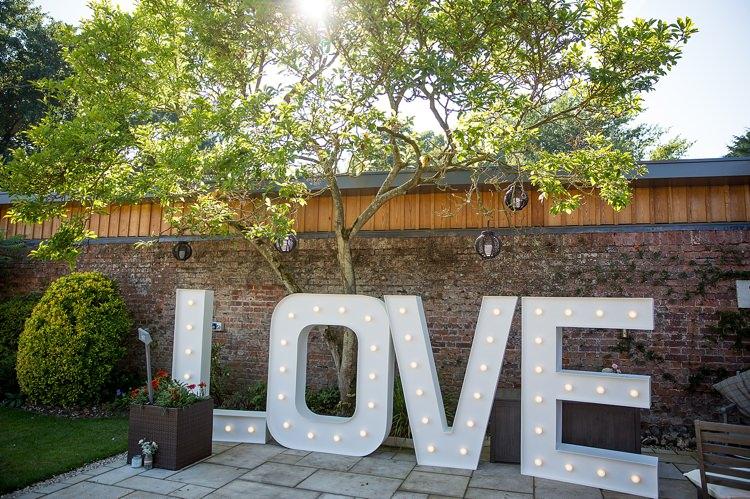 LOVE Letter Lights Pastel Country Garden Wedding http://www.katherineashdown.co.uk/