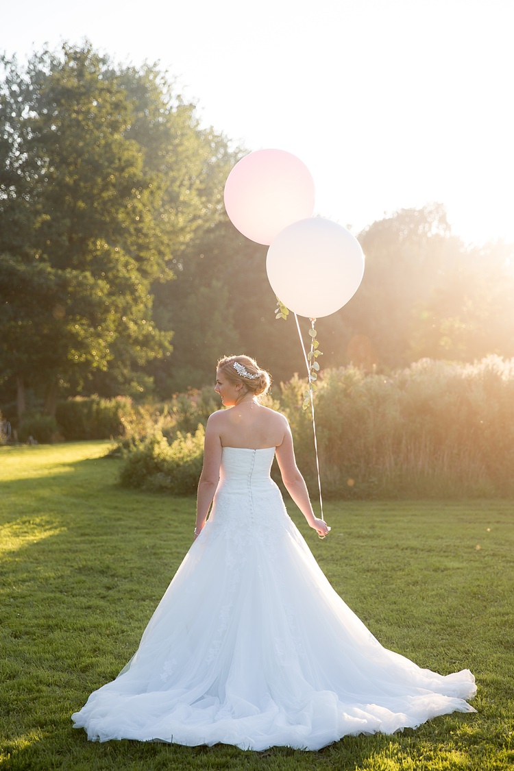 Balloons Bride Pronovias Lace Tulle Gown Dress Bridal Pastel Country Garden Wedding http://www.katherineashdown.co.uk/