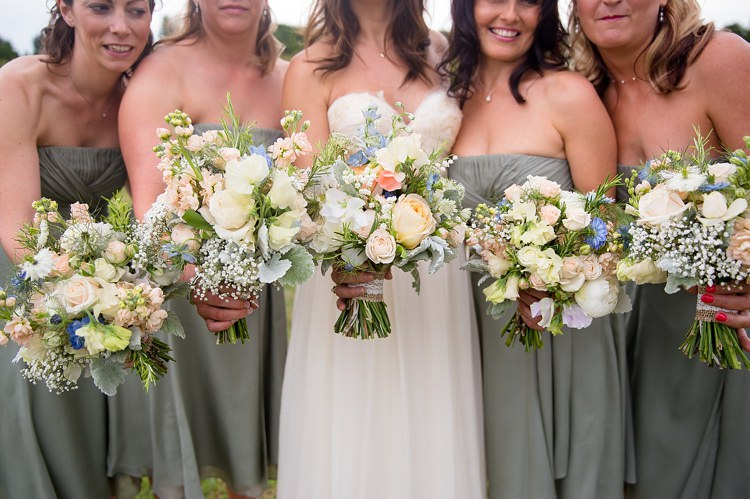 Bride Bridesmaid Bouquets Peach Ivory Green Blue Summer Flowers Natural Soft Stylish Luxe Wedding http://www.katherineashdown.co.uk/