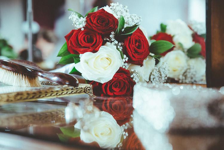 Red White Rose Bouquet Bride Bridal Flowers Alternative Vintage Glamorous Wedding www.photo.shuttergoclick.com