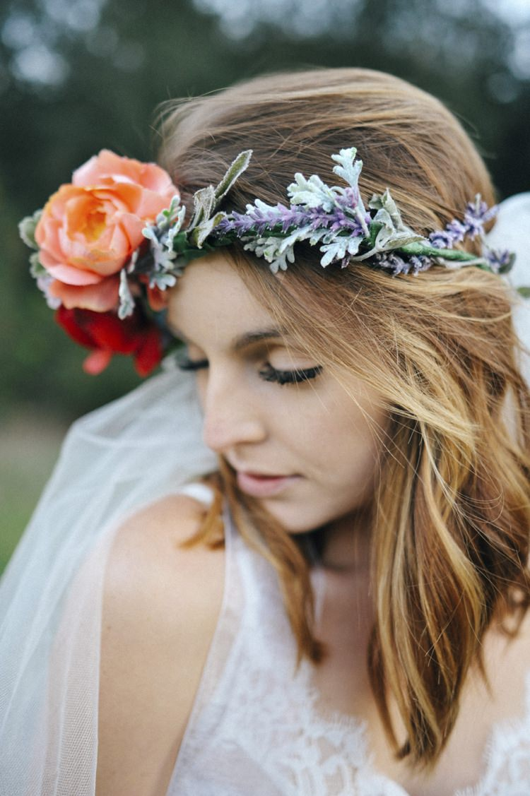 Flower Crown Headdress Halo Bride Bridal Peach Red Hip Bohemian Styled Elopement http://www.kylieraephotography.com/