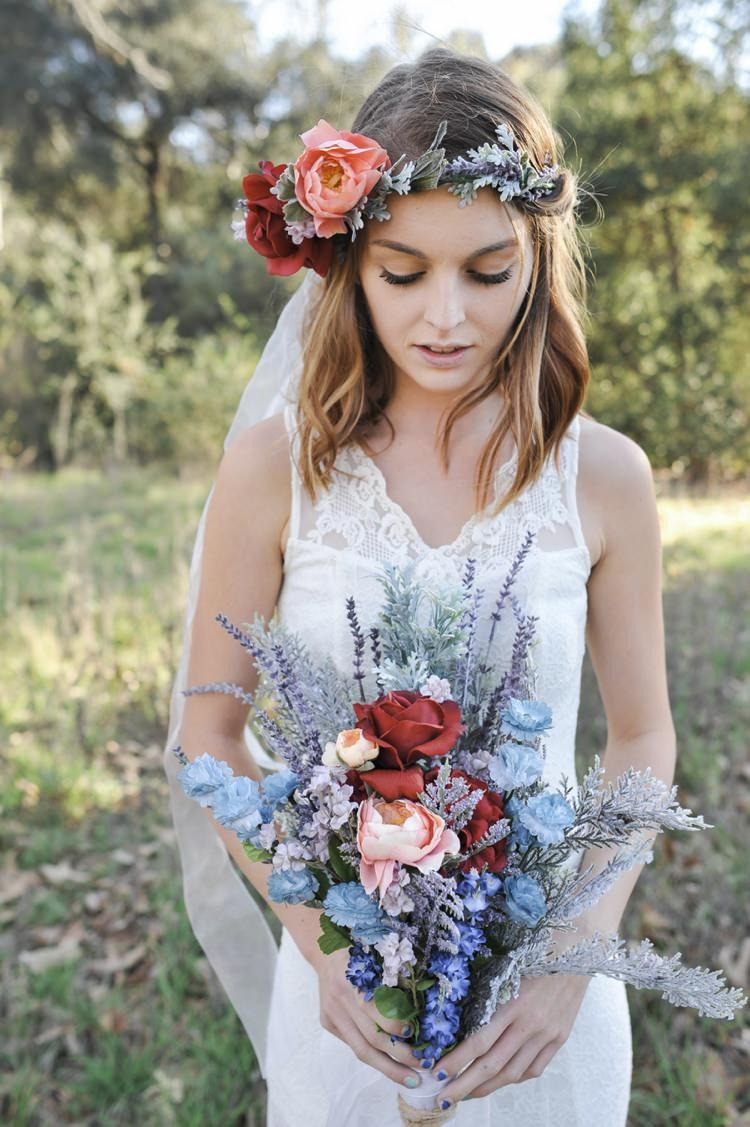 Bride Bridal Flowers Bouquet Wild Red Peach Blue Hip Bohemian Styled Elopement http://www.kylieraephotography.com/