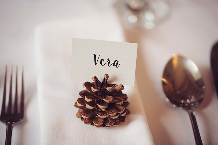 Pinecone Place Name Card Setting Alpine Winter Christmas Wedding http://www.tireedawson.co.uk/