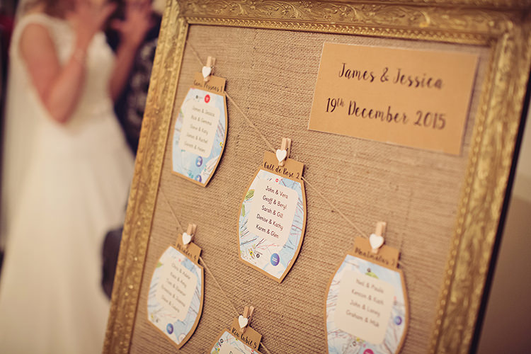 Hessian Kraft Paper Table Seating Plan Chart Alpine Winter Christmas Wedding http://www.tireedawson.co.uk/