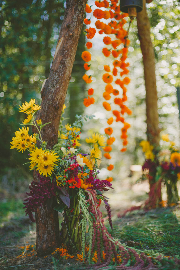 Autumn Flowers Yellow Orange Ceremony Aisle Farmer's Wedding Forest http://www.lenkalandphotography.com/