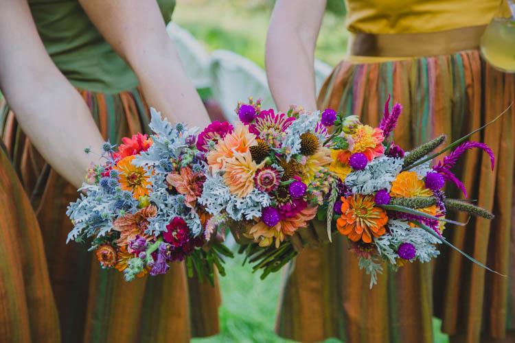 Bouquets Bridesmaids Autumn Purple Orange Flowers Farmer's Wedding Forest http://www.lenkalandphotography.com/
