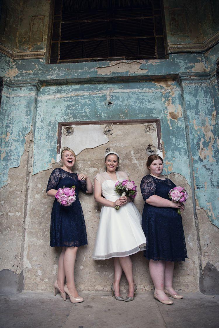 Navy Short Lace Bridesmaid Dresses Bright Fun Pink Peonies Wedding http://assassynation.co.uk/