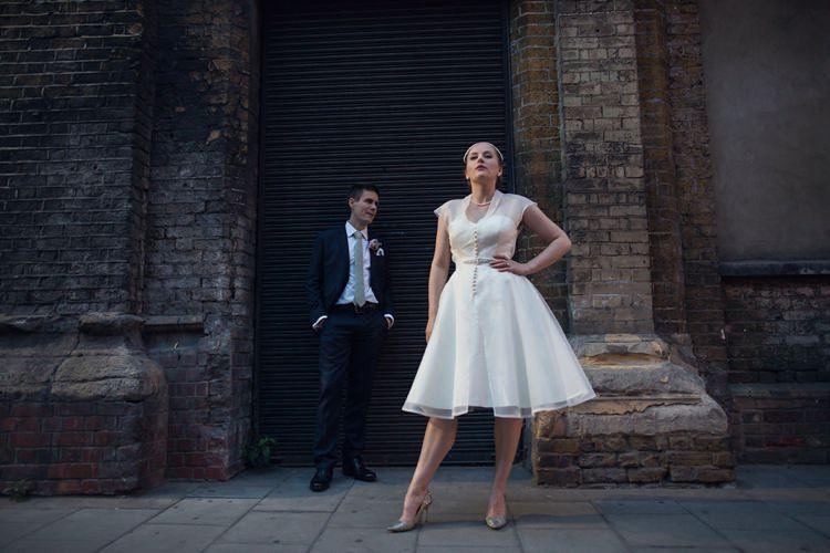 Short Dress Gown Bride Bridal Vintage 1950s Collar Bright Fun Pink Peonies Wedding http://assassynation.co.uk/