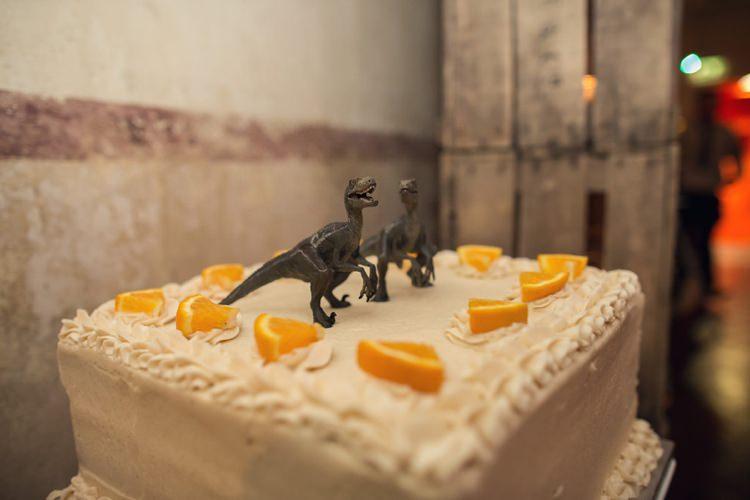 Toy Dinosaur Cake Topper Bright Fun Pink Peonies Wedding http://assassynation.co.uk/