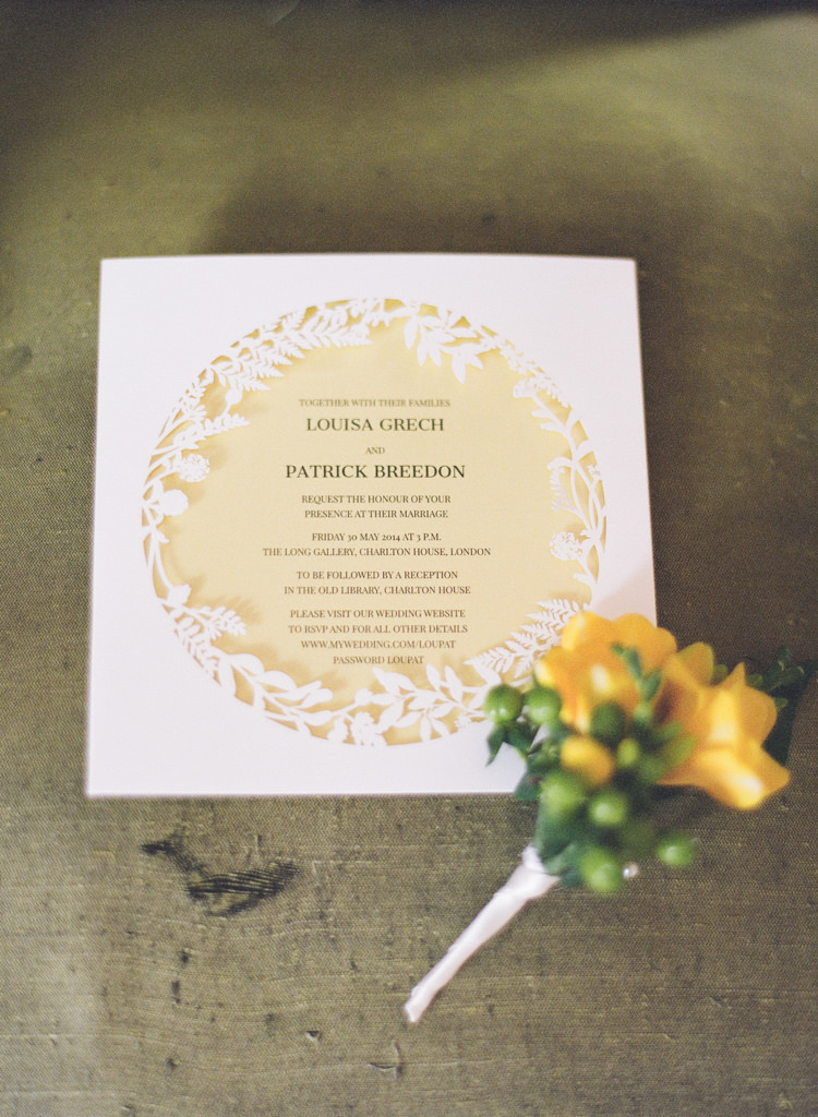 Cut Out Laser Stationery Invitation Classic Spring Yellow Wedding http://natashahurley.com/