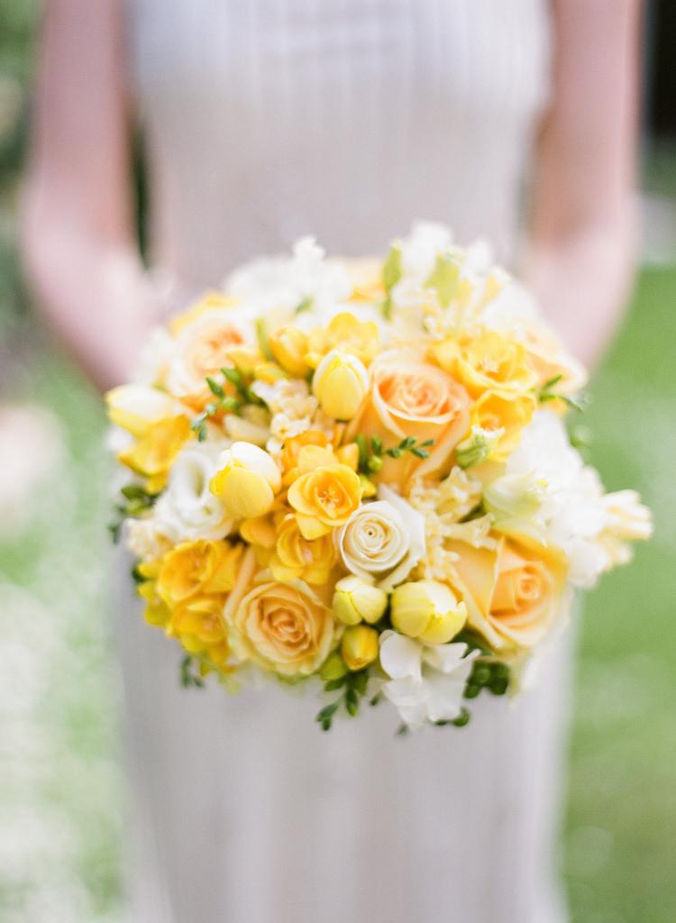 Bouquet Flowers Roses Tulips Bride Bridal Classic Spring Yellow Wedding http://natashahurley.com/