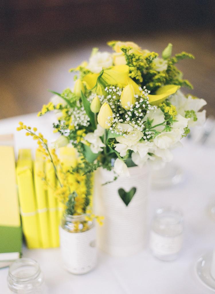 Flowers Heart Jars Classic Spring Yellow Wedding http://natashahurley.com/