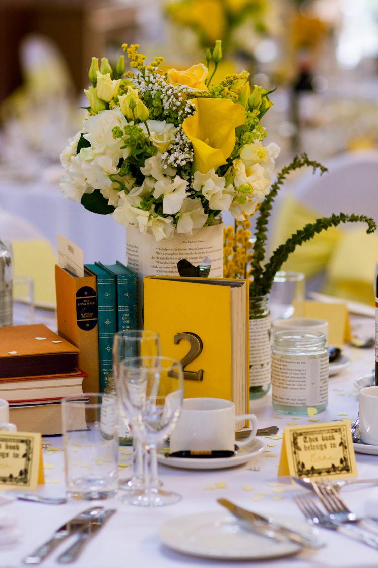 Book Centrepiece Flowers Decor Classic Spring Yellow Wedding http://natashahurley.com/