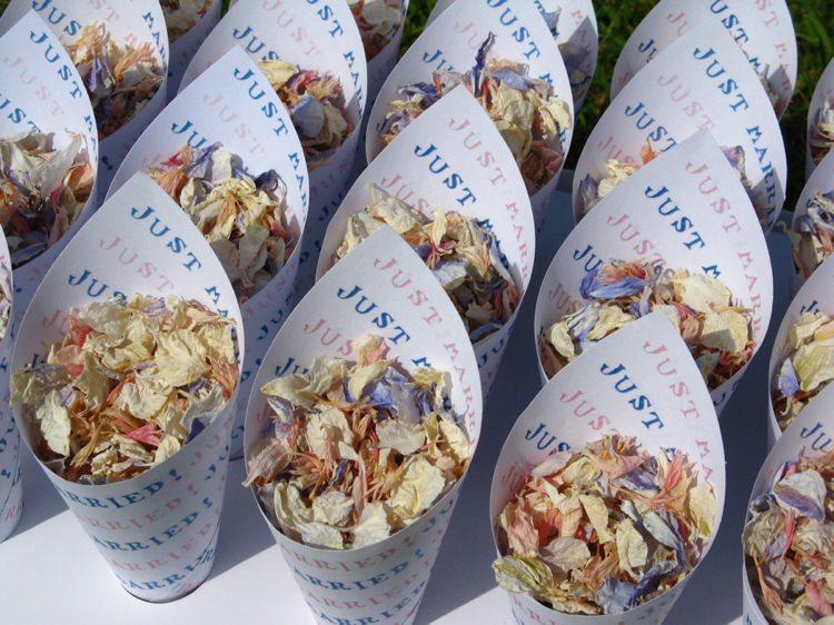 Personalised Confetti Cones. Credit- The Real Flower Petal Confetti Company