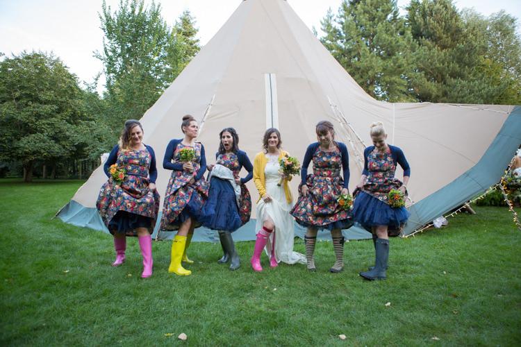 Vintage Bridesmaid Floral Dresses Cardigans Wellies Petticoats Country Fete Garden Festival Wedding http://sharoncooper.co.uk/