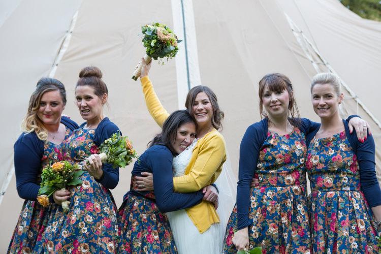 Cardigan Bride Bridesmaids Country Fete Garden Festival Wedding http://sharoncooper.co.uk/