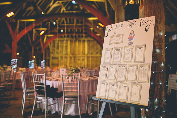 Love Story Table Plan Seating Chart Origami Books Barn Wedding http://storyandcolour.co.uk/