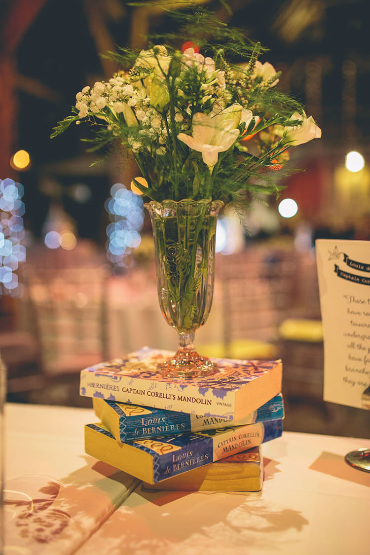 Vase Flowers Book Centrepiece Tables Origami Books Barn Wedding http://storyandcolour.co.uk/
