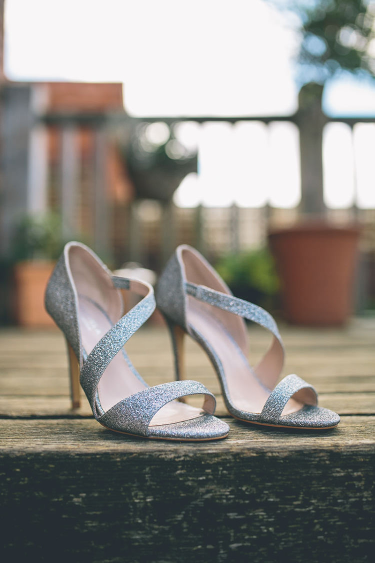 Silver Glitter Strappy Heels Bride Bridal Shoes Origami Books Barn Wedding http://storyandcolour.co.uk/