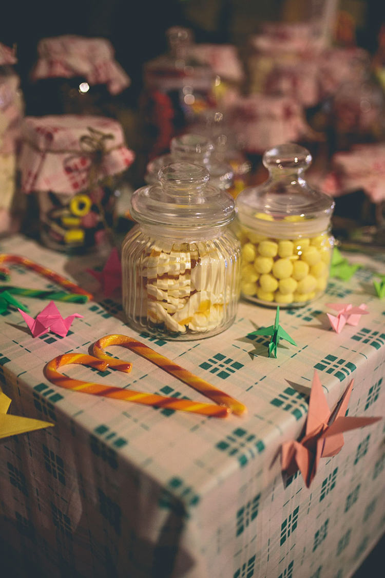 Sweets Jars Table Origami Books Barn Wedding http://storyandcolour.co.uk/