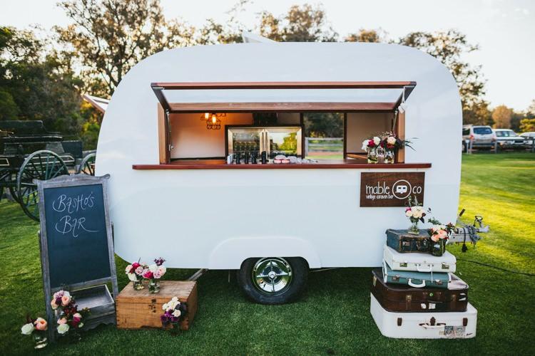 Caravan Bar Whimsical Barn Wedding Australia http://throughthewoodsweran.co.uk/