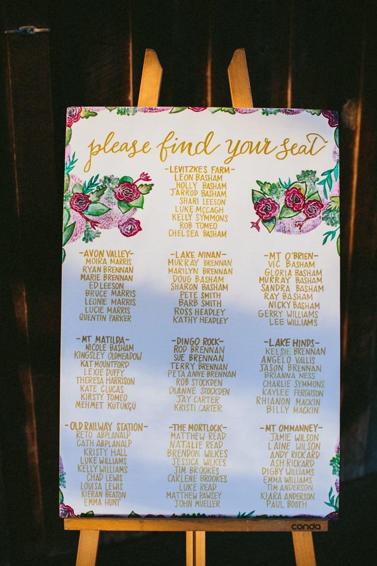 Floral Gold Seating Table Plan Chart Whimsical Barn Wedding Australia http://throughthewoodsweran.co.uk/