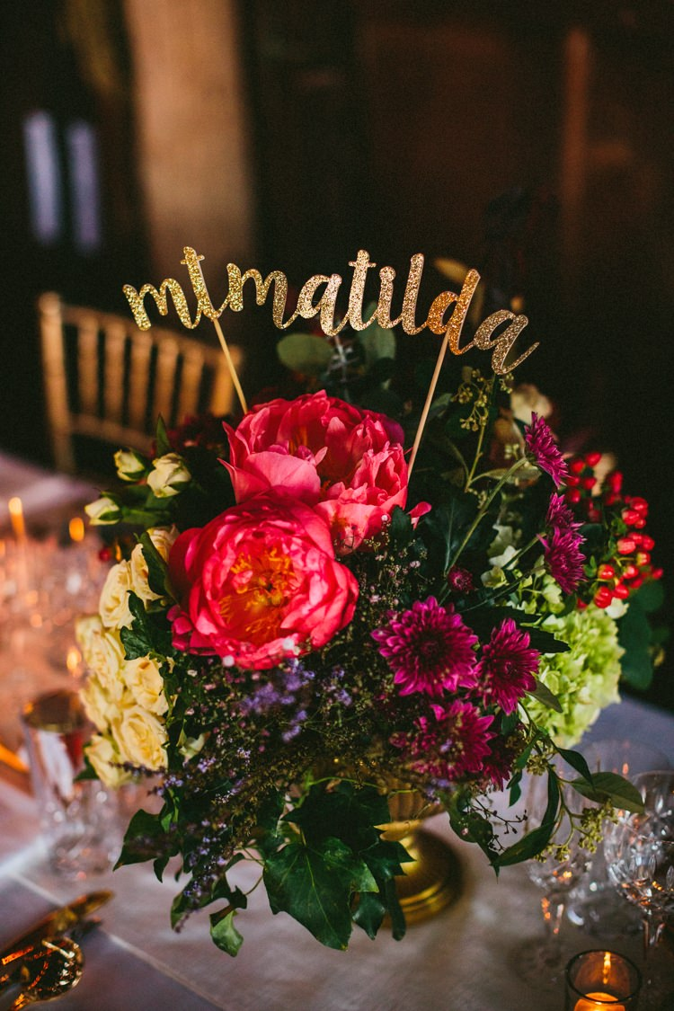 Flowers Pink Peony Peonies Glitter Table Names Whimsical Barn Wedding Australia http://throughthewoodsweran.co.uk/