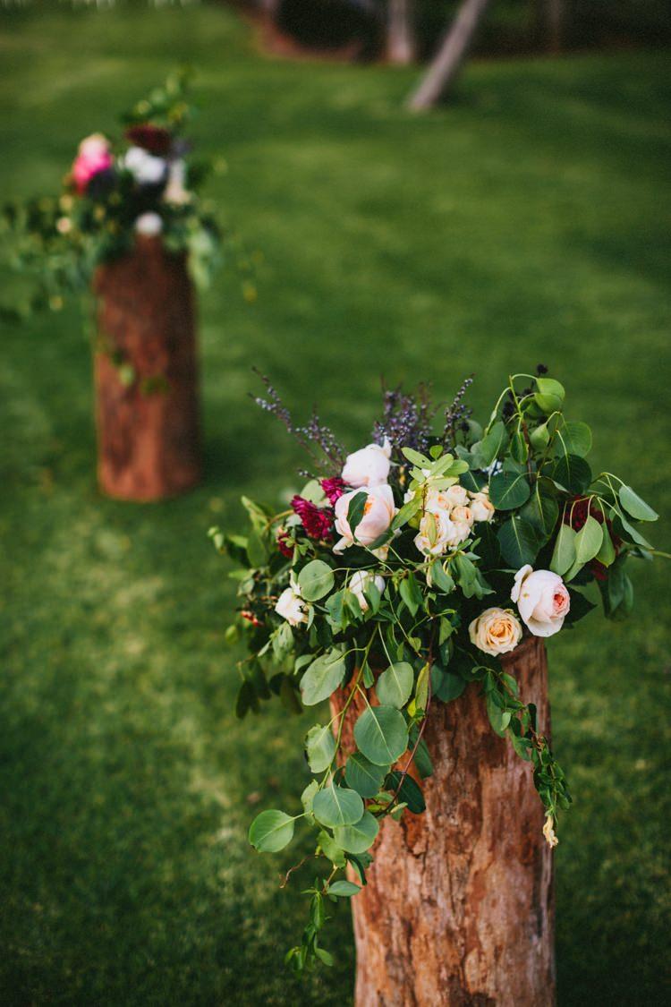 Flowers Log Posts Ceremony Whimsical Barn Wedding Australia http://throughthewoodsweran.co.uk/