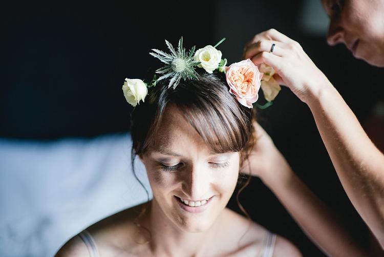 Flower Crown Bride Bridal Fringe Bangs Laid Back Bohemian Festival Wedding http://benjaminmathers.co.uk/