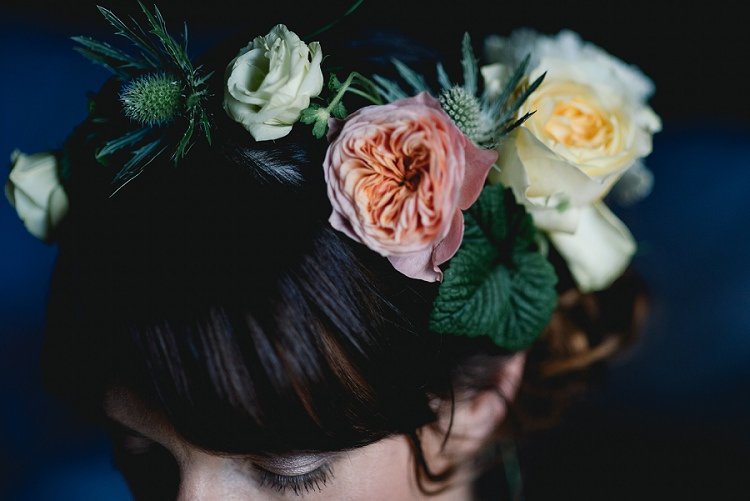 Flower Crown Bride Bridal Fringe Bangs Peach Rose Thistle Laid Back Bohemian Festival Wedding http://benjaminmathers.co.uk/