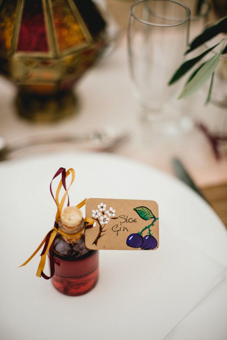 Gin Favours Bottles Laid Back Bohemian Festival Wedding http://benjaminmathers.co.uk/