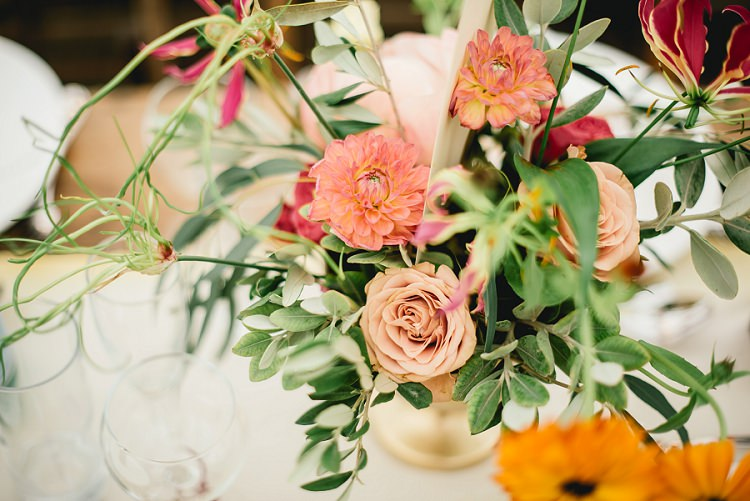 Whimsical Coral Flowers Roses Dahlias Laid Back Bohemian Festival Wedding http://benjaminmathers.co.uk/