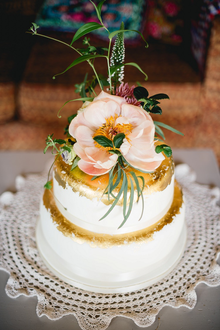 Gold Leaf Metallic Cake Flowers Topper Laid Back Bohemian Festival Wedding http://benjaminmathers.co.uk/