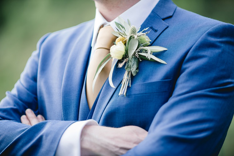 Groom Buttonhole Thistle Laid Back Bohemian Festival Wedding http://benjaminmathers.co.uk/