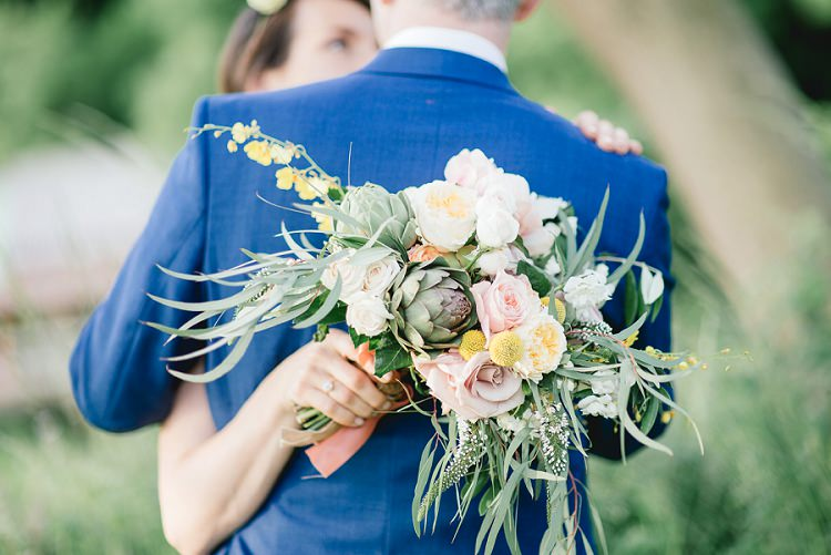 Whimsical Bouquet Flowers Foliage Roses Yellow Pink Bride Bridal Laid Back Bohemian Festival Wedding http://benjaminmathers.co.uk/