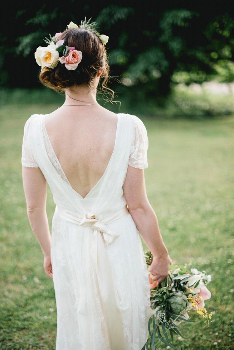 Charlie Brear Dress Gown Bride Bridal Flowers Hair Laid Back Bohemian Festival Wedding http://benjaminmathers.co.uk/