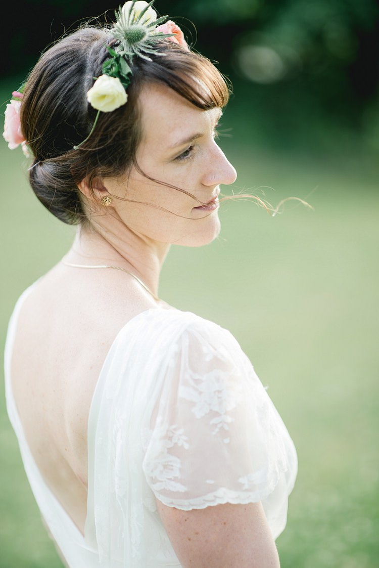Twist Hair Bride Bridal Flowers Crown Fringe Laid Back Bohemian Festival Wedding http://benjaminmathers.co.uk/