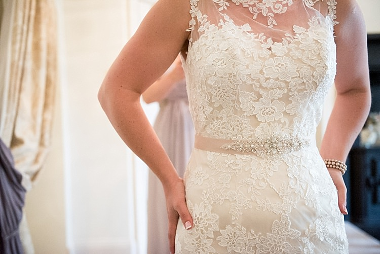 Lace Dress Bride Bridal Gown Belt Sash Beautiful Country House Wedding http://www.fionasweddingphotography.co.uk/